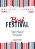 Festival del libro del manifesto Pila di libri Illustrazione di vettore Immagine Stock
