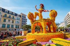 Festival 2019 del limone di Menton, arte fatta dei limoni ed arance Tema fantastico dei mondi immagine stock libera da diritti