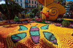 Festival 2019 del limone di Menton, arte fatta dei limoni ed arance Tema fantastico dei mondi fotografia stock libera da diritti