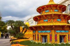 Festival del limone (Fete du Citron) sul Riviera francese Menton, Francia February20, 2015 immagine stock