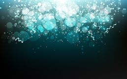 Festival del partido de la celebración, estrellas, cintas y papel que cae, polvo, brillo borroso del confeti de la dispersión que ilustración del vector