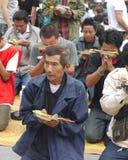 Festival del tatuaggio allo scoppio Phra di Wat in Nakhon Chaisi, Immagini Stock