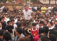 Festival del tatuaggio allo scoppio Phra di Wat in Nakhon Chaisi Fotografia Stock Libera da Diritti
