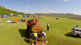 Festival del turismo ecologico, campeggio (prospettiva aerea) archivi video