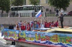 Festival dell'acqua Evento festivo di divertimento sul tram dell'acqua Fotografia Stock Libera da Diritti