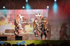 Festival dell'internazionale della maschera di manifestazione di ballo del Laos fotografia stock libera da diritti