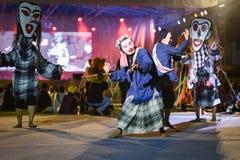Festival dell'internazionale della maschera di manifestazione di ballo del Laos fotografia stock