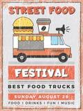 Festival della via dell'alimento Cucina nella progettazione d'annata d'approvvigionamento veloce all'aperto mobile del manifesto  royalty illustrazione gratis