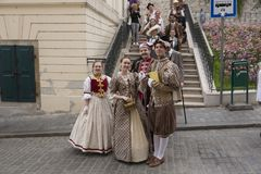 Festival der alten Kostüme stockbilder