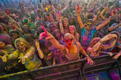 Festival der Farbe Holi eine Partei stockbild