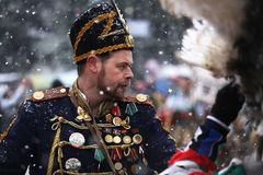 Festival der Maskerade-Spiele Surova in Breznik, Bulgarien Lizenzfreies Stockbild