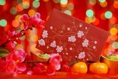 Festival des Chinesischen Neujahrsfests im roten Hintergrund Stockfoto
