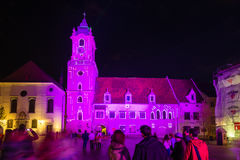 Festival des Lichtes in Bratislava, Slowakei 2016 Lizenzfreies Stockbild