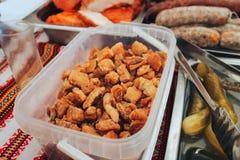 Festival des Straßenlebensmittels und -fleisches stockbilder