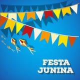 Festival di argomento di Festa Junina Brasile Festa di folclore È un'illustrazione di vettore Fotografia Stock Libera da Diritti