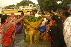 Festival di Chatt in India. Fotografie Stock Libere da Diritti