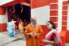 Festival di Durga della famiglia di Kolkata Immagini Stock