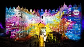Festival di Gerusalemme di luce 2018 nella vecchia città Fotografia Stock Libera da Diritti