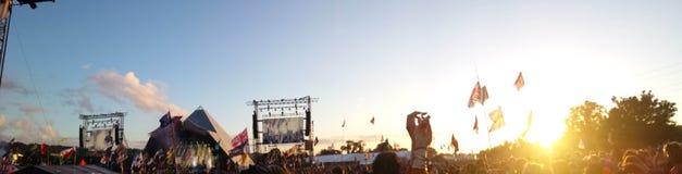 Festival 2016 di Glastonbury - in foto della folla immagini stock libere da diritti
