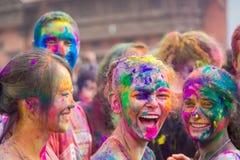 Festival di Holi della celebrazione di colori a Kathmandu Nepal fotografia stock libera da diritti