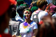 Festival di Holi in pokhara immagini stock libere da diritti