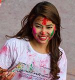 Festival di Holi in pokhara fotografia stock