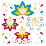 Festival di indù di Diwali candele di oggetti isolati su fondo bianco Fotografie Stock Libere da Diritti