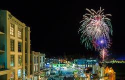 Festival di inverno di Queenstown del fuoco d'artificio Fotografia Stock Libera da Diritti