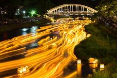 Festival di lanterna al fiume di Asanogawa fotografia stock