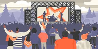 Festival di musica dell'aria aperta Musicisti della roccia e folla dei fan royalty illustrazione gratis