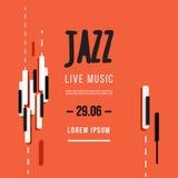Festival di musica di jazz, modello del fondo del manifesto Tastiera con le chiavi di musica Progettazione di vettore dell'aletta Immagine Stock