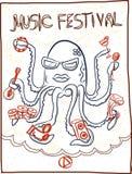 Festival di musica disegnato a mano, fumetto del polipo Immagine Stock Libera da Diritti