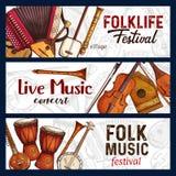 Festival di musica folk Schizzo degli strumenti musicali illustrazione vettoriale