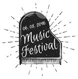 Festival di musica Piano dello strumento musicale Illustrazione di vettore Festival di musica di jazz, modello del fondo del mani Fotografia Stock Libera da Diritti