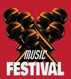Festival di musica Vector l'illustrazione disegnata a mano del microfono fatta nello stile di puntinismo Immagini Stock Libere da Diritti