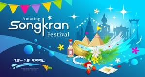 Festival di stupore di Songkran della spruzzata dell'acqua della Tailandia illustrazione vettoriale