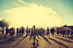 Festival di Woodstock, più grande festival di musica rock libero del biglietto di aria aperta di estate in Europa, Polonia fotografie stock libere da diritti