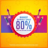 Festival discount and sale banners for diwali with crackers. Vector Royalty Free Stock Photos