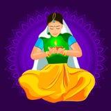 Festival Diwali. Illustration of woman burning diya for Indian festival Diwali Stock Photography