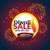 Festival diwali sale banner with fireworks and beautiful diya. Vector Stock Photo
