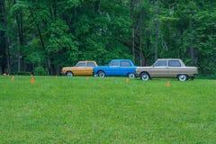 Festival do carro do Oldtimer, ZAZ, cidade Koknese, Letónia 2012 Ca retros fotografia de stock
