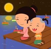 Festival 1 do krathong de Loy dos personagens de banda desenhada Imagem de Stock