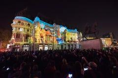 Festival do projetor, Bucareste, Romênia - 12 de abril de 2018 Imagens de Stock