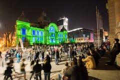Festival do projetor, Bucareste, Romênia - 12 de abril de 2018 Imagem de Stock Royalty Free