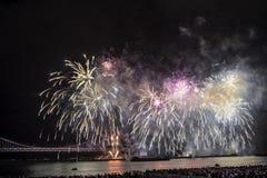 Festival 2016 dos fogos-de-artifício de Busan - pirotecnia da noite Foto de Stock Royalty Free