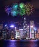 Festival dos fogos-de-artifício sobre a cidade de Hong Kong imagem de stock royalty free