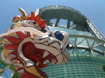 Festival Dragon and Jongno Tower, Seoul. Dragon at Lotus Latern Festival in front of Jongno Tower Royalty Free Stock Images