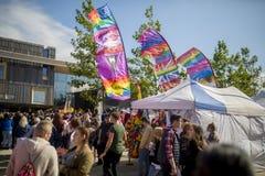 Festival, drapeaux et stalles de la fierté le 19 août 2017 LGBT de Doncaster Images stock
