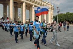 festival du l'Art-football à Moscou Équipe de la Slovaquie Images libres de droits