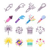 Festival dynamite, party fireworks, festive spark, holiday pyrotechnic. Line and silhouette icons. Vector illustration Stock Image